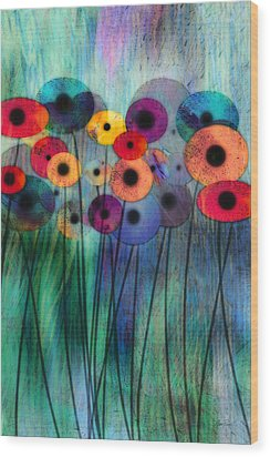 Flower Power Three Wood Print