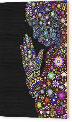 Flower Prayer Girl Wood Print