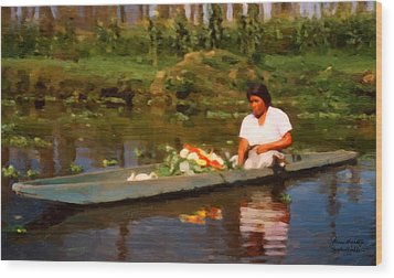 Flower Seller Xochimilco Wood Print