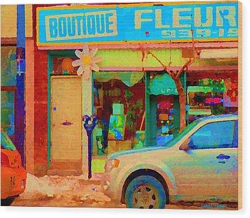 Flower Shop St Henri Boutique Fleuriste Window Notre Dame Ouest Montreal City Scene Carole Spandau Wood Print by Carole Spandau