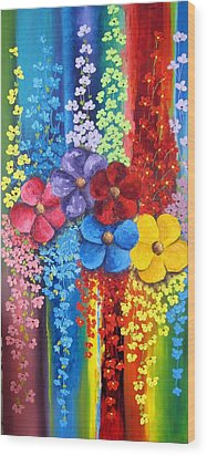 Flower Shower Wood Print by Katia Aho