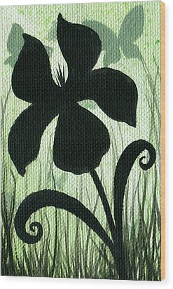 Flower Silhouette 10 Wood Print by Elaina  Wagner