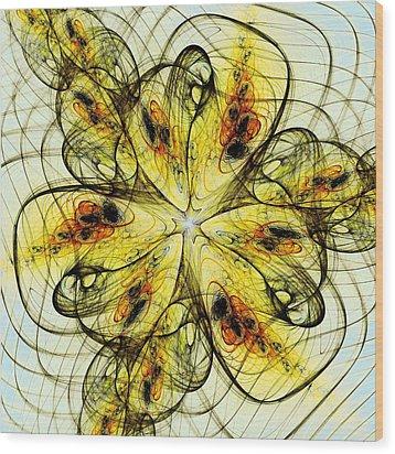 Flower Sketch Wood Print by Anastasiya Malakhova