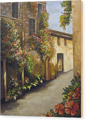 Wood Print featuring the painting Flower Street by Carol Hart