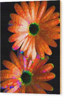 Flower Study 5 - Vibrant Orange By Sharon Cummings Wood Print by Sharon Cummings