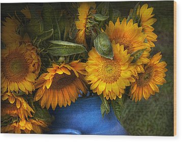 Flower - Sunflower - The Suns Have Risen  Wood Print by Mike Savad