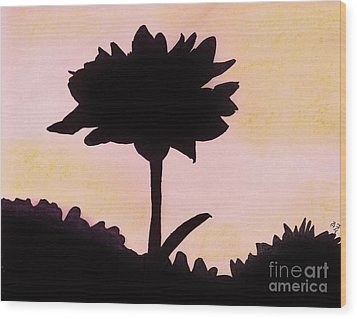 Wood Print featuring the drawing Flower - Sunrise by D Hackett