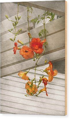 Flower - Trumpet Melodies Wood Print by Mike Savad