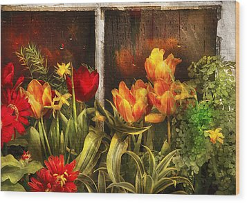 Flower - Tulip - Tulips In A Window Wood Print by Mike Savad
