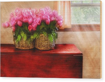 Flower - Tulips By A Window Wood Print by Mike Savad