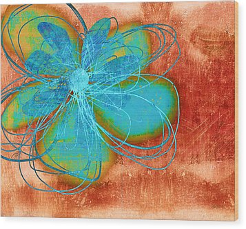 Flower  Whimsy In Blue Wood Print by Ann Powell