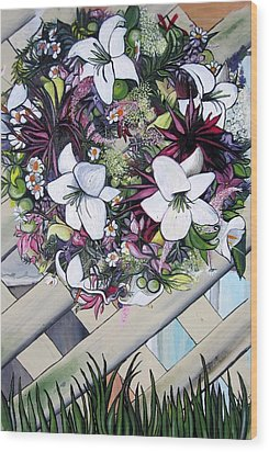 Floral Wreath Wood Print by Mary Ellen Frazee