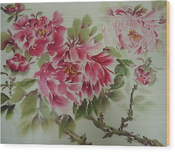 Wood Print featuring the painting Flower0725-3 by Dongling Sun