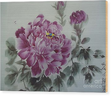 Wood Print featuring the painting Flower427012-4 by Dongling Sun