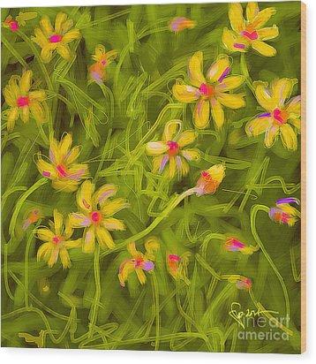 Wood Print featuring the painting Flowerfield by Go Van Kampen