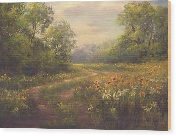 Flowering Field Wood Print