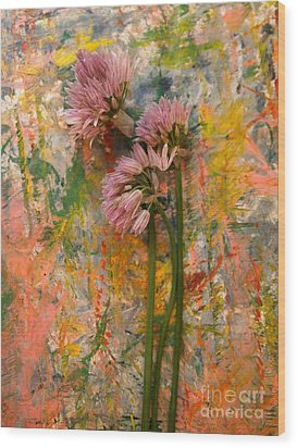 Flowering Garlic Wood Print by Nancy Kane Chapman