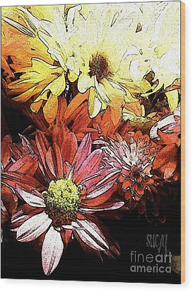 Flowerpower Wood Print by Susan Townsend