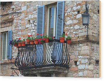 Wood Print featuring the photograph Flowers 3- Assisi by Theresa Ramos-DuVon
