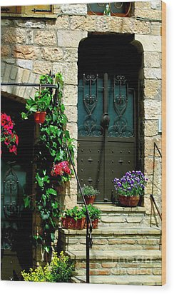 Wood Print featuring the photograph Flowers 4-assisi by Theresa Ramos-DuVon