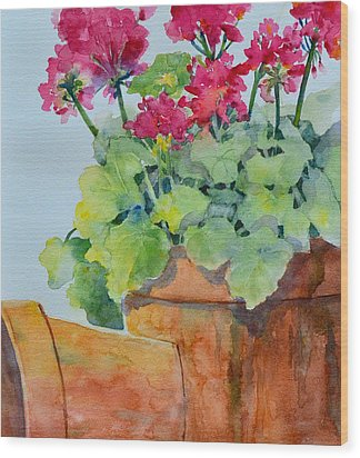 Flowers And Clay Pots Wood Print