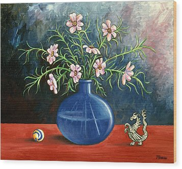 Flowers And Dragon Wood Print by Linda Mears