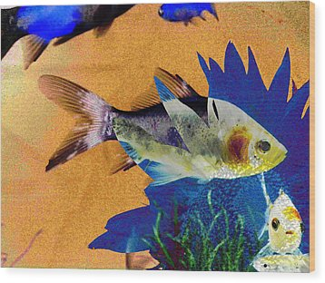 Flowers And Fins Wood Print by Lenore Senior