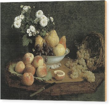 Flowers And Fruit On A Table Wood Print by Henri Fantin-Latour