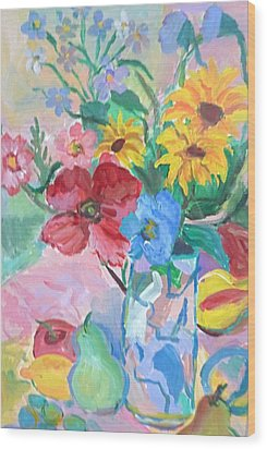 Flowers And Fruits Wood Print by Brenda Ruark