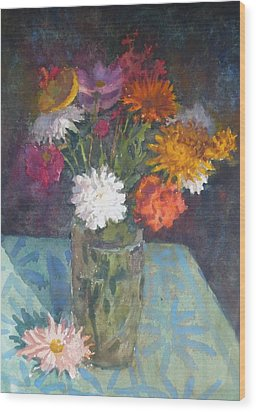 Flowers And Glass Wood Print by Terry Perham