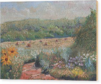 Flowers And Hay Wood Print by William Killen