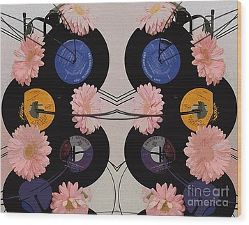 Flowers And Phonographs Wood Print by Nina Silver