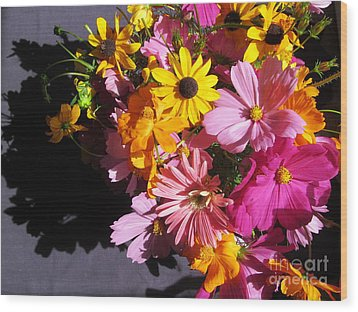 Flowers And Shadow Wood Print