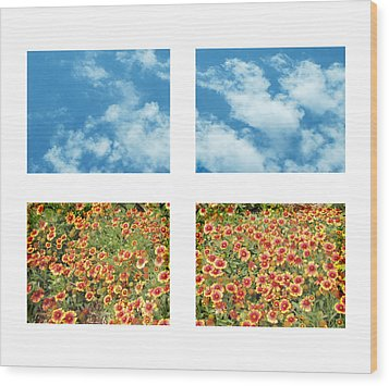 Flowers And Sky Wood Print by Ann Powell