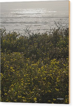 Flowers And The Sea Wood Print by Allen Sheffield