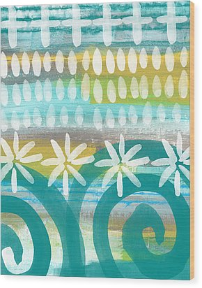 Flowers And Waves- Abstract Pattern Painting Wood Print by Linda Woods