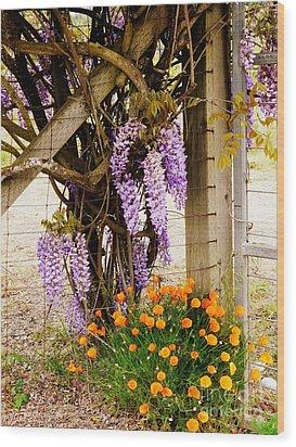 Flowers By The Gate Wood Print by Avis  Noelle
