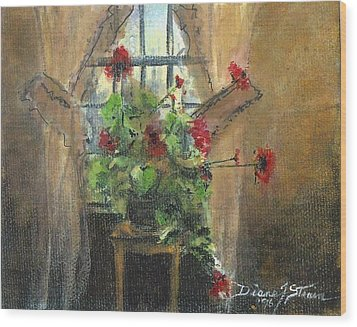 Flowers By The Window Wood Print