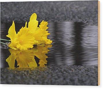 Flowers Come With Rain Wood Print by Freda Nichols