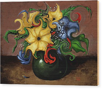 Wood Print featuring the painting Flowers Dancing by Terry Webb Harshman