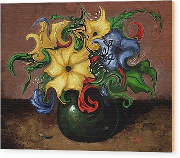 Flowers Dancing Wood Print