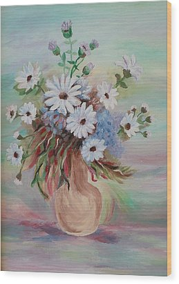 Wood Print featuring the painting Flowers For Mom by Christy Saunders Church