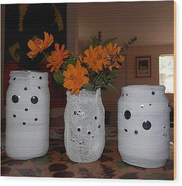 Halloween Flowers For Mummy Wood Print