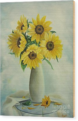 Wood Print featuring the painting Flowers For You by Sorin Apostolescu