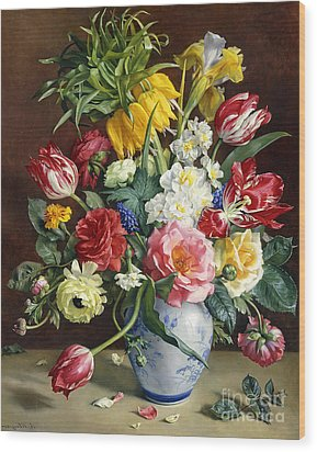 Flowers In A Blue And White Vase Wood Print by R Klausner