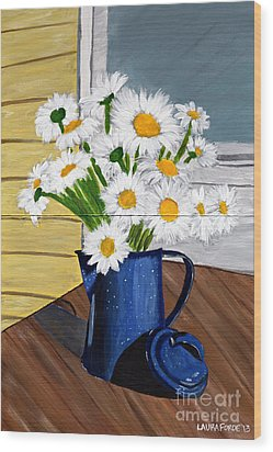 Wood Print featuring the painting Flowers In A Teapot by Laura Forde