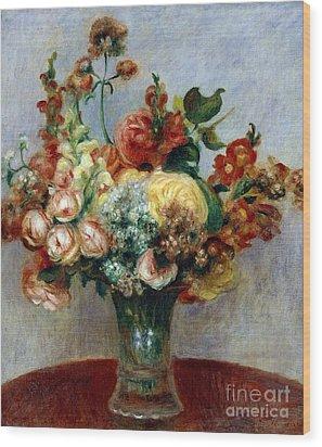 Flowers In A Vase Wood Print by Pierre-Auguste Renoir