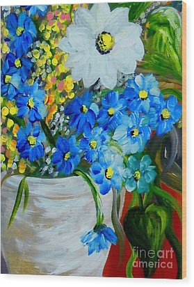 Flowers In A White Vase Wood Print by Eloise Schneider
