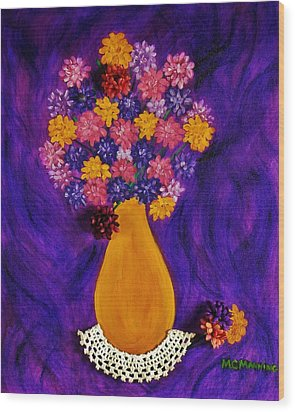 Wood Print featuring the painting Flowers In A Yellow Vase by Celeste Manning
