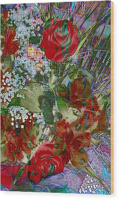 Wood Print featuring the digital art Flowers In Bloom by Liane Wright